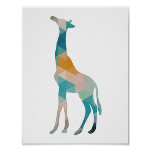 Póster infantil blanco con silueta geométrica de una jirafa colorida