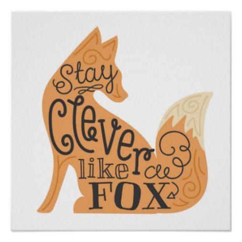 Póster infantil con silueta de zorro naranja 'Clever like a fox' - Frente