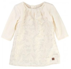 Vestido moderno para bebé niña blanco marfil de Carrément Beau