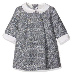 Vestido para bebé gris con cuello blanco de manga tres cuartos de Fina Ejerique