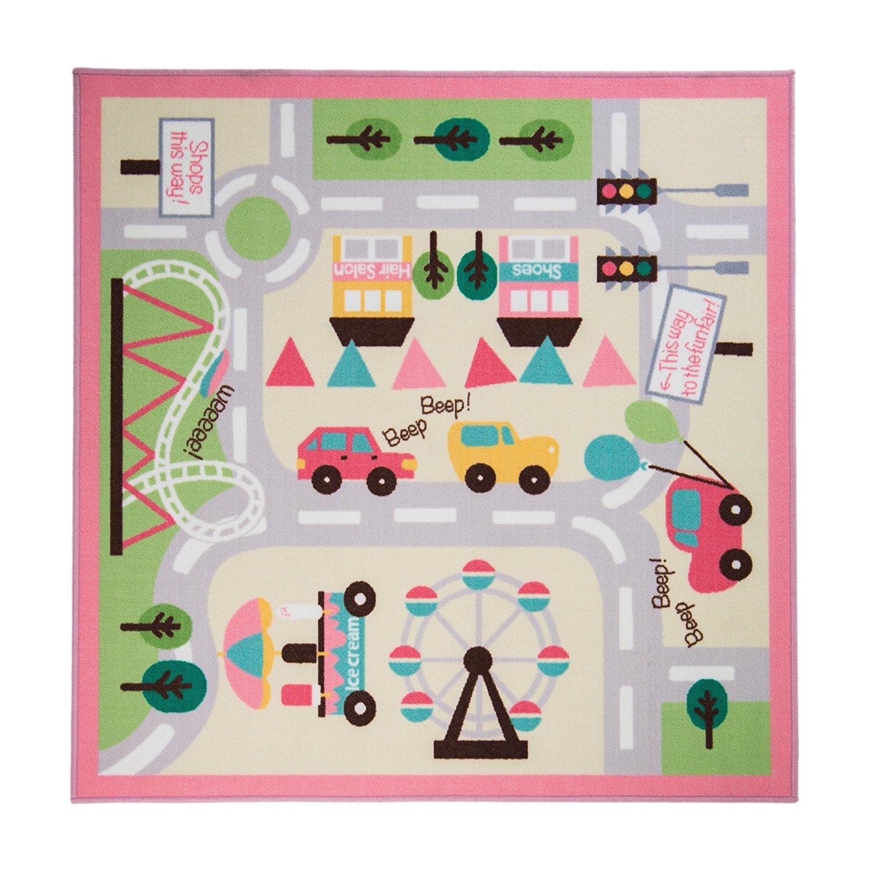 Alfombra infantil rosa con mapa de ciudad y coches de rugs for Alfombra bano infantil
