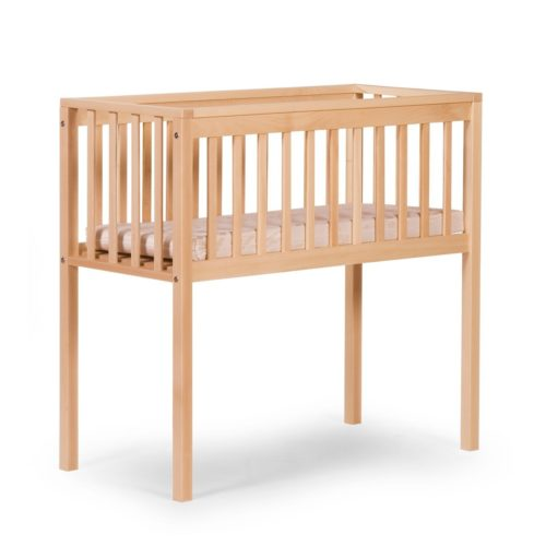 Minicuna rectangular de madera natural con barrotes de Childhome