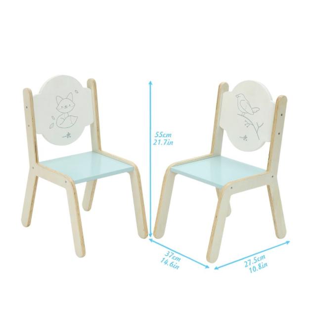 Mesa y dos sillas de madera para ni os en blanco y azul de for Medidas sillas ninos