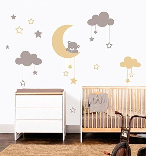 Vinilo infantil con nubes estrellas luna y oso en gris y - Decoracion habitacion bebe vinilos ...